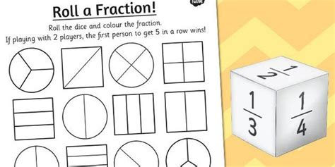 year 2 roll a fraction activity sheet fractions