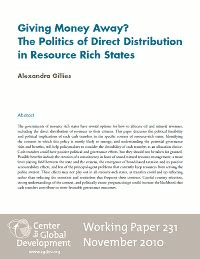 Money And Politics Essay by Giving Money Away The Politics Of Direct Distribution In Resource Rich States Working Paper