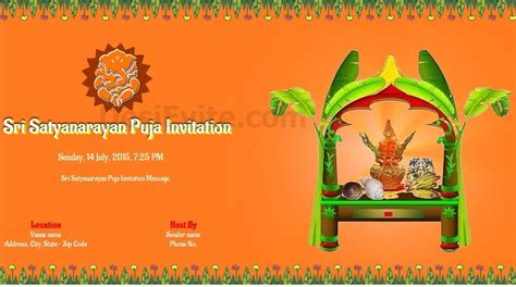 puja invitation card template free satyanarayan puja invitation card invitations
