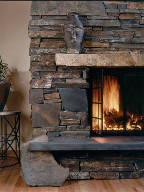stacked stone fireplace ideas dry stack fireplace home design ideas pictures remodel