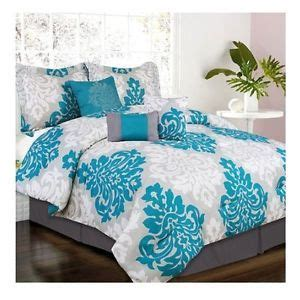 teal bed in a bag new bed bag full queen king teal gray scroll 7 pc