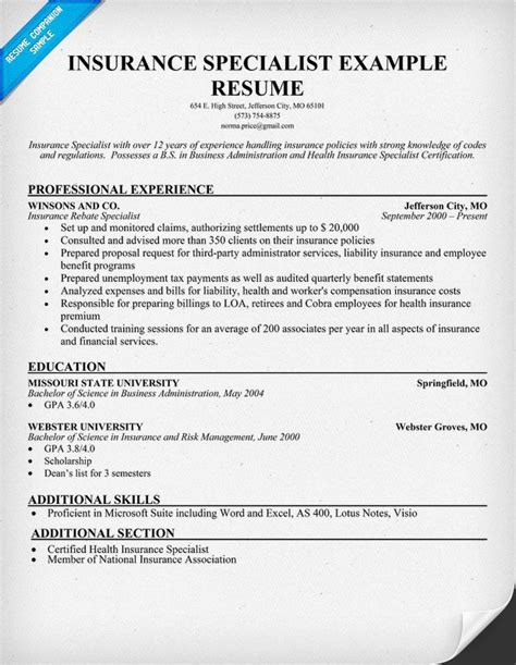 Insurance Resume Exles Sles Insurance Specialist Skills For Resume Recentresumes
