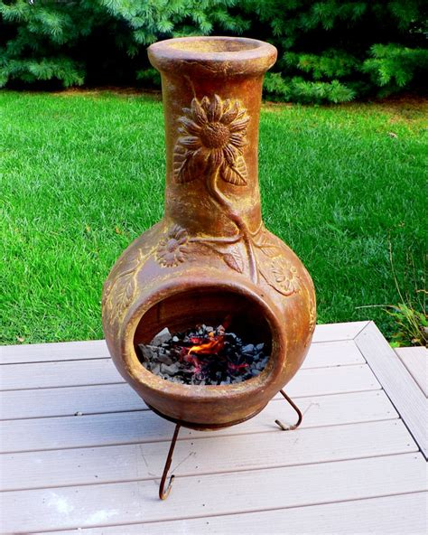 tabletop chiminea options for keeping warm on your deck when the temperature
