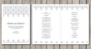 Traditional Wedding Program Template Damask Paperchain Wedding Stationery