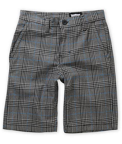 Plaid Shorts free world burbank black blue grey plaid shorts zumiez