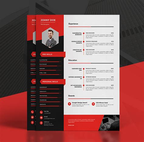 Great Resume Example by Modern Cv Resume Templates Cover Letter Amp Portfolio Page