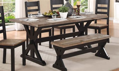 homelegance north port trestle dining table two tone
