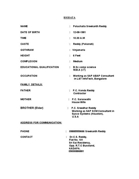 Resume Sle Marriage Biodata Biodata Format For Marriage