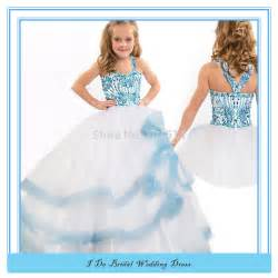 high quality kids beauty pageant dresses beaded blue ball