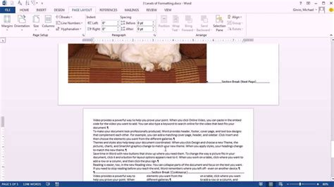 paragraph section office 2013 class 08 three levels of formatting in word