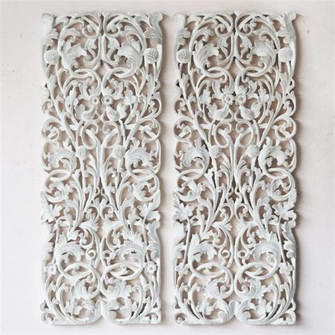 Buddha Statues Home Decor by Pair Of Wall Art Panel Wood Carving Sculpture Siam Sawadee