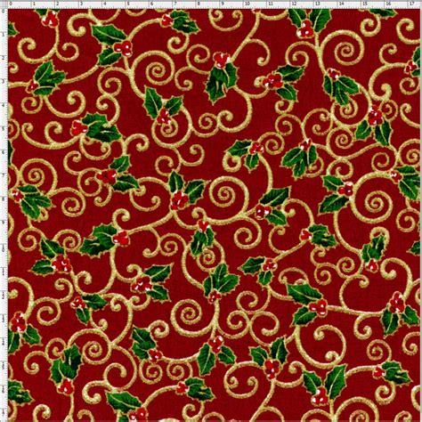 patchwork natal tecido natal arabesco vermelho azevinhos c01