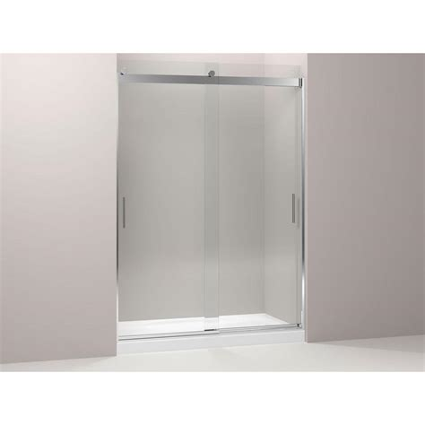 Kohler Frameless Sliding Shower Doors Kohler Levity 59 5 8 In X 82 In Heavy Frameless Sliding Shower Door In Silver With Handle K