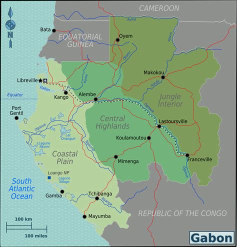 gabon maps large detailed gabon regions map gabon regions large