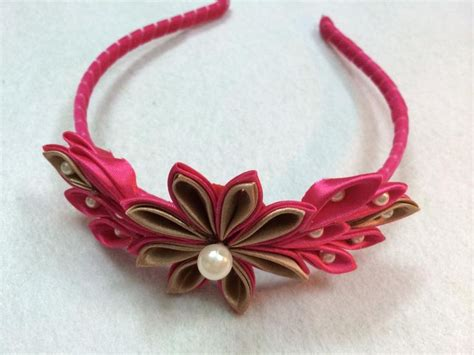 Ribbon Headband diy tutorial diy hair accessories diy kanzashi flower