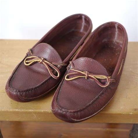 ll bean slippers mens ll bean burgundy brown leather driving moccasin boat shoe