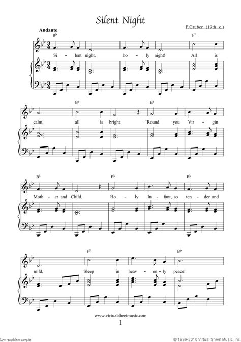 printable sheet music silent night free silent night sheet music for piano voice or other