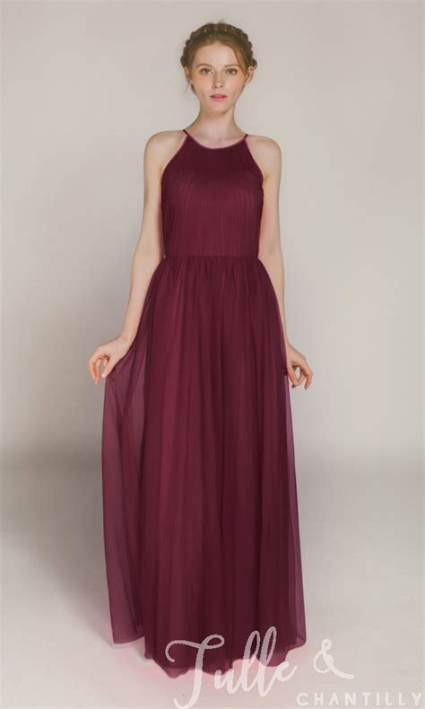 Sleeveless Tulle Dress sleeveless tulle bridesmaid dress with halter neck