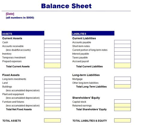 simple and blank personal balance sheet template and form