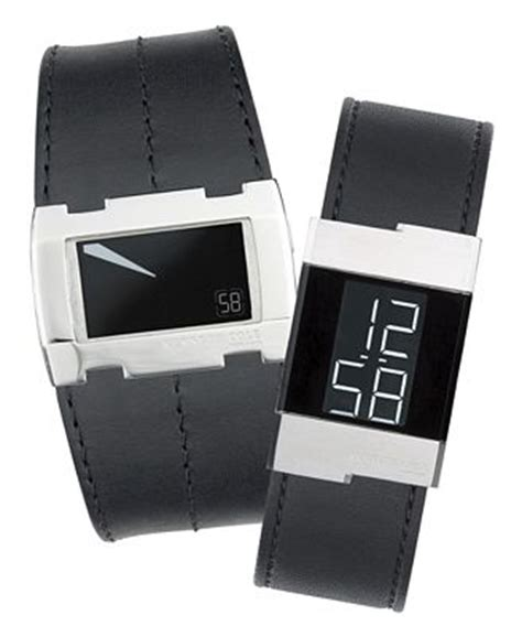 kenneth cole new york s slim leather band digital
