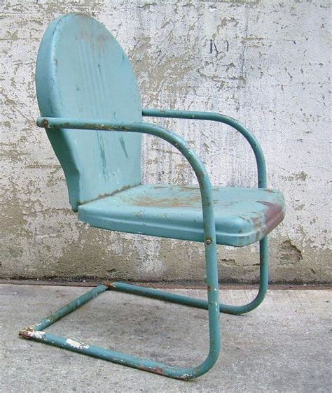 Retro Metal Lawn Chair Teal Rustic Vintage Porch Furniture Vintage Patio Chairs
