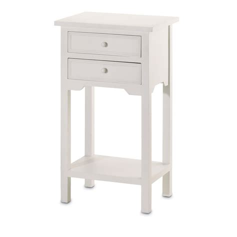 Telephone Table With Drawers by Wood White Home Accent It Size For