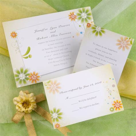 wedding invitation yellow motif orange green wedding theme wedding flair