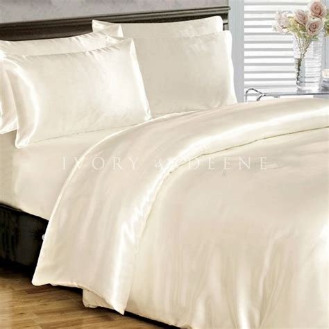 Bed Quilt Cover by Soft Silk Feel Ivory Satin Size Doona Duvet Quilt Cover Bedding Set Ebay