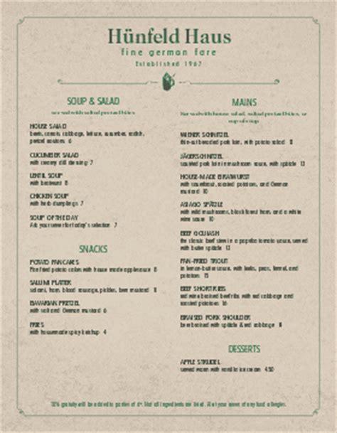 german cuisine menu bar menu template bar menu design musthavemenus