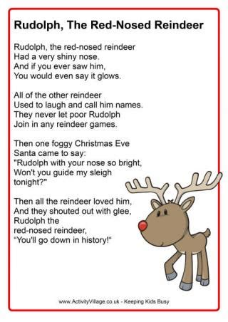 printable reindeer story free download from activity village rudolph the red nosed