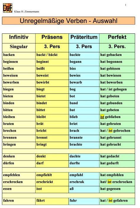 als fremdsprache daf daz grammatik unregelm 228 ssige verben