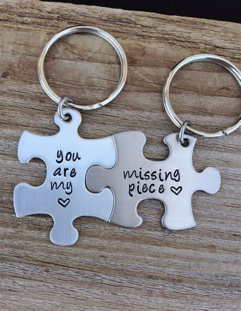 Popular Items For The Missing Piece On Etsy | puzzle piece keychain set you are my missing piece hand