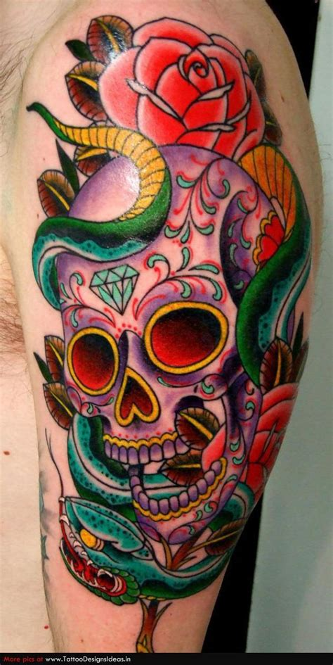 mexican rose tattoo sugar skull without the snake tattoos