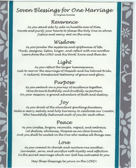 Seven Wedding Blessings Reform virginia s such as it is quot seven blessings for one
