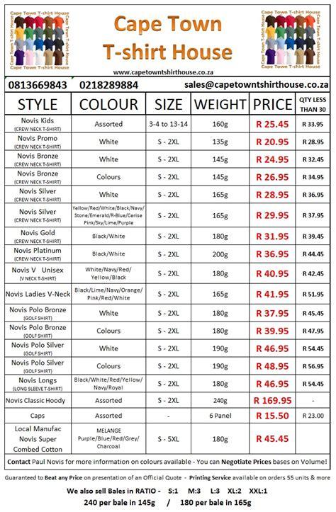 T Shirt Printing Prices List Kamos T Shirt T Shirt Price List Template