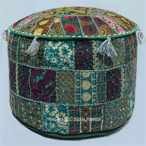 indian pouf ottoman 22x12 quot multicolor handmade bohemian round indian pouf