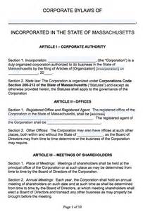 free massachusetts corporate bylaws template pdf word