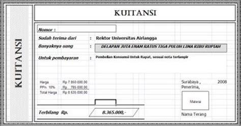Contoh Kwitansi Pembayaran by Contoh Kwitansi