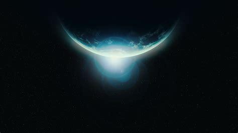 wallpaper horizon planet dark  space