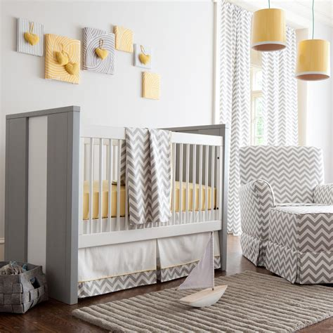 Gray And Yellow Zig Zag Crib Bedding Bold Chevron Crib Gray Nursery Decor