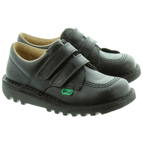 kickers kick lo velcro shoes in black in black