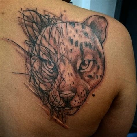 simple jaguar tattoo grey ink simple jaguar head tattoo on back left shoulder