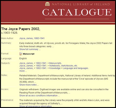 Joyce Essays by Resources The Joyce Papers