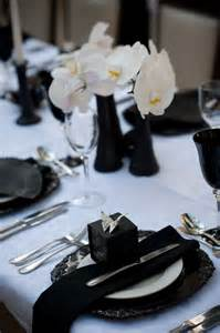 black and white table setting extra dressy crushed white taffeta tablecloth with vintage