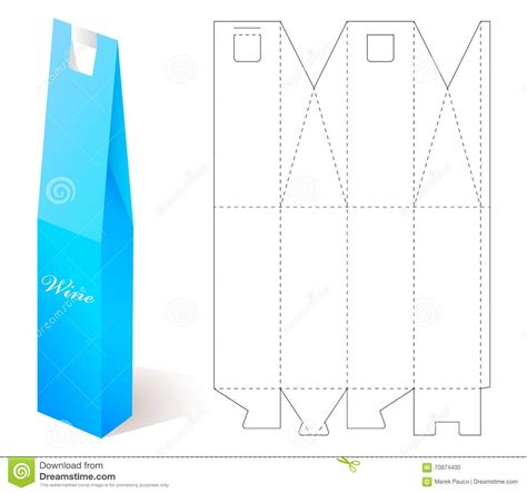 blueprint template wine paper box with blueprint template stock vector