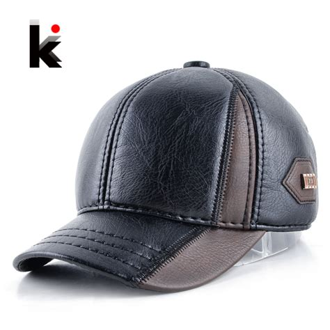 mens winter leather cap warm patchwork hat baseball