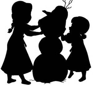 Frozen silhouette children elsa and anna