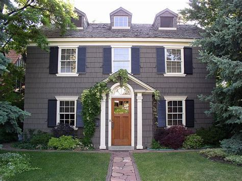charcoal gray outside one day black shutters shutters and white trim