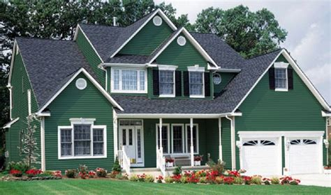 green colored houses the exterior can have the combination of bright and dark