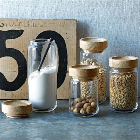Kitchen Canisters And Jars by Wood Glass Storage Jars Contemporary Kitchen